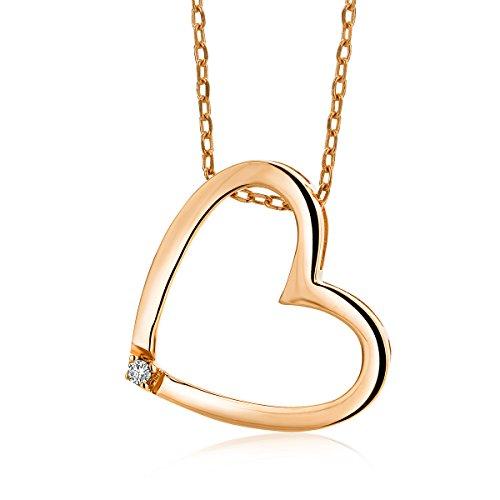 Miore Damen Rotgold Diamant Halskette und Herz Anhänger 9KT (375) mit Diamant Brillanten 45 cm Goldkette