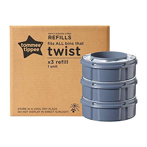 Tommee Tippee Windeleimer Nachfüllkassetten für Twist & Click und Sangenic TEC Windeleimersysteme, 3er Set