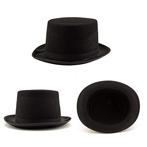 Adorox Sleek Felt Black Top Hat Fancy Costume Party, No Color, Size No Size