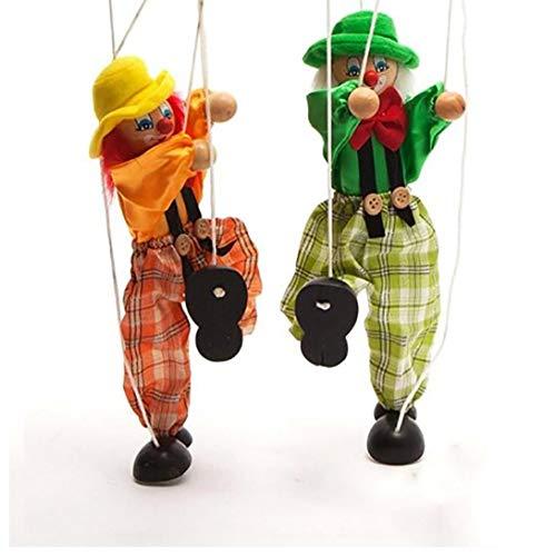 Heall 1PC Clown Handmarionette Puppet Kinderholzmarionette spielt Bunte Marionette Marionette Puppe Eltern-Kind-Interactive Spielzeuge (Random)