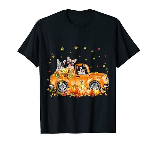 French Bulldog Riding Truck Pumpkin Autumn Leaves Fall T-Shirt