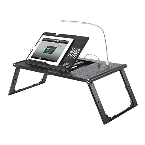 Foldable Laptop Bed Tray Tablet Charging Table Adjustable Lap Desk with Built-in Rechargeable Power Bank and LED Light - Portable Laptop Table Breakfast Food Table Reading Desk - Black