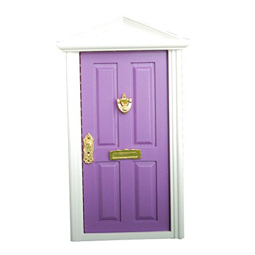 1/12 DOLLHOUSE MINIATURE WOODEN FURNITURE FAIRY GARDEN DECOR KITS DOOR / MAIL BOX - Purple