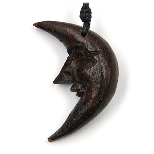 Drachensilber Mond Schmuck aus Holz, Kettenanhänger zeitlos natürlich Länge 3,5cm, inkl Textilband Holzschmuck