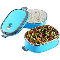 Fiambrera térmica de acero inoxidable para almacenamiento de alimentos, contenedor portátil Bento Box con asa 1/2/3 capas, 2 Layers, Biue, 1