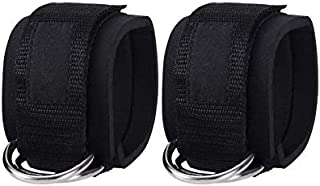 2PCS Ankle Straps for Cable Machines Weightlifting Gym Workout Fitness Double Ring Neoprene Padded Ankle Cuffs for Legs, A...