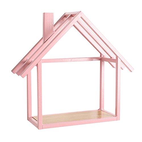 Rosa-Haus Metall Wandregal Hängeregal Küchenregal Blumenregal Regal mit Holz Ablagefläche