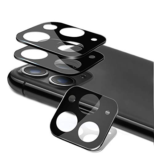 [3 Pack] PECHE for iPhone 11 Pro/11 Pro Max Camera Lens Protector Apple Camera Film Metal Frame 9H Tempered Glass Screen Protector HD Full Coverage Strong Adsorption Anti-Scratch Easy Install(Black)