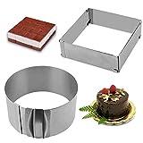 Gutsdoor Adjustable Cake Mold Ring 6-12 Inch Mousse Ring Stainless Steel Cake Mold Set 2-piece Baking Tool (Square+Round)