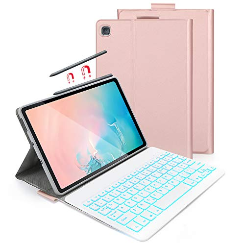 Bluetooth Backlit Keyboard Case for Samsung Galaxy Tab S6 Lite 10.4' 2020, Jelly Comb Removable Wireless Keyboard Case with Protective Cover for Samsung Galaxy Tab S6 Lite P610/P615, Rose and Gold