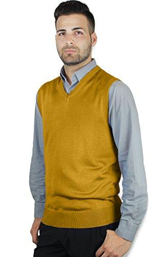 Blue Ocean Solid Color Sweater Vest Mustard XX-Large