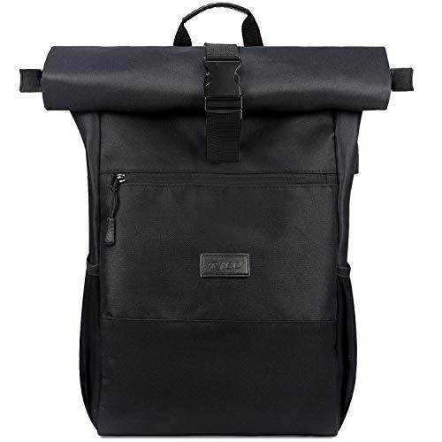 RJEU Laptop Rucksack für 17 Zoll,Rolltop Rucksack Herren Damen,Laptoptasche mit USB-Ladeb...