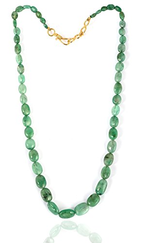 Brightjewels Halskette mit Anhänger, 135,5 Karat, natürlich, brasilianisch, Smaragdgrün, oval, 45,7 cm