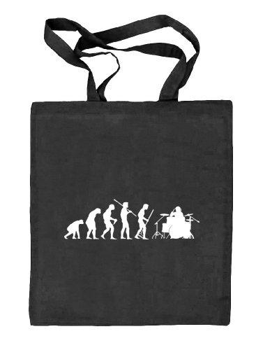 Shirtstreet24, EVOLUTION DRUMMER,Schlagzeuger Drum Kit Stoffbeutel Jute Tasche (ONE SIZE), Größe: onesize,schwarz natur