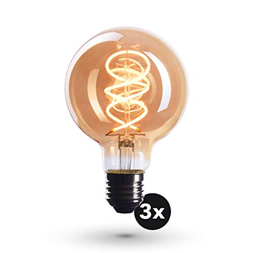 CROWN LED 3 x Edison Glühbirne E27 Fassung, Dimmbar, 4W, 2200K, Warmweiß, 230V, EL18, Antike Filament Beleuchtung im Retro Vintage Look