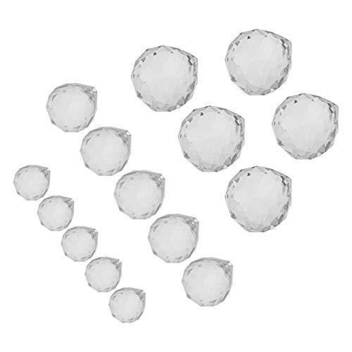 WINOMO 15Pcs Kristallkugel Kronleuchter Prismen Teardrop Deckenleuchte Beleuchtung Hängen Tropfen Anhänger Perlen DIY Handwerk Tür Fenstervorhänge Dekoration (40Mm + 30Mm + 20Mm)