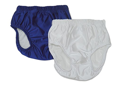 My Pool Pal Baby-Jungen 2 Pack Swim Brief/Diaper Cover Schwimmhose, Marineblau/weiß, X-Small