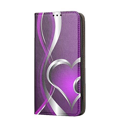 KX-Mobile Hülle für Samsung A51 Handyhülle Motiv 248 Herz Lila Premium Smart aus Kunstleder einseitig Bedruckt HandyCover Handyhülle für Samsung Galaxy A51 Hülle