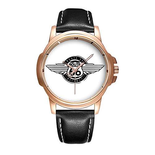 Personality Mode wasserdichte Herren-Armbanduhr Analoges Quarzlederband Mit Gold-492.A Route 66 Race Way Wrist Watch