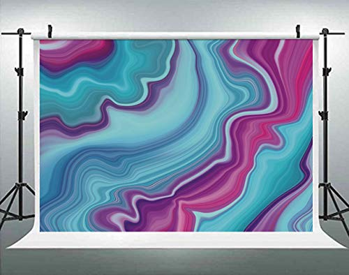 ALUONI 5x3ft Marble,Abstract Color Formation Wavy Aqua Lines Agate Slab Mineral Photography Backdrop Photo Backdrops Portrait Background Studio Props AM021876
