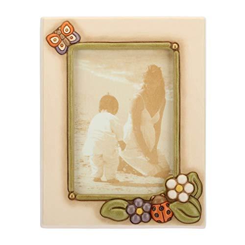 THUN - Portafoto Medio con Farfalla, Fiori e Coccinella Colorata - Accessori per la Casa - Linea Country - Ceramica - Formato Foto 10x15 cm