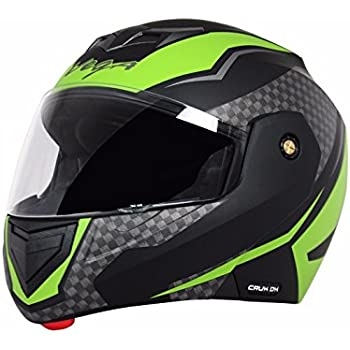 Vega Crux Flip Up Tinted Smoke Visor Helmet, Large 57-59.5cm (Black and Green)