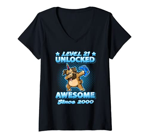 Mujer Nivel 21 Desbloqueado Impresionante Desde 2000 Dabbing Pugicorn Bday Camiseta Cuello V