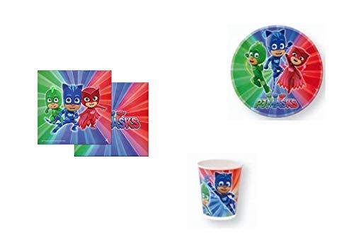 Disney, Pj mask, 0267, Lote basico para fiestas y cumpleaños; 8 vasos, 8 platos y 20 servilletas (Pj masks basico)
