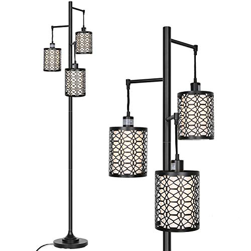 Hykolity 3-Light Floor Lamp for Living Room, Metal Outer Shade Frame with White Inner Fabric Shade Liner, Sturdy Base Tall Vintage Pole Light Great for Living Room, Bedroom, Bulb Sold Separately