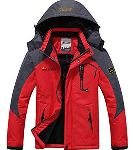 XinYangNi Men's Mountain Waterproof Ski Jacket Windproof Rain Jacket Red US L/Asia 4XL