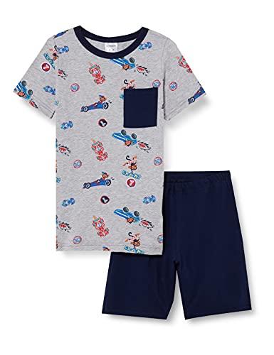 Schiesser Jungen kurzer Schlafanzug - Organic Cotton, grau-Mel, 104