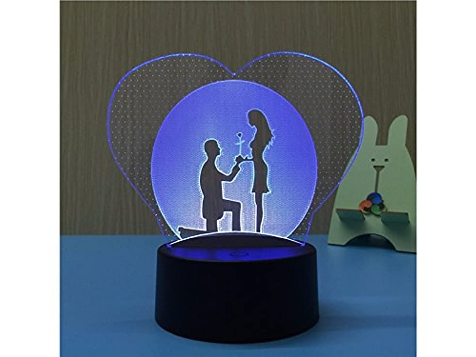 Junson Laptop 3D Heart Illusion Lamp LED 7 Color Night Light Table Lamp with Touch USB Remote Control for Couple Romantic Night Reading Lamp