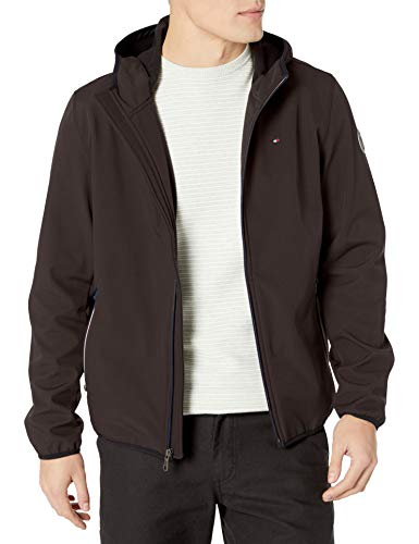 Tommy Hilfiger Men's Hooded Performance Soft Shell Jacket, black, Large