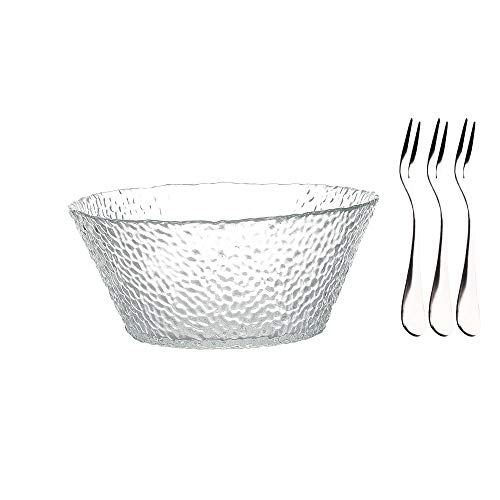 MDZF SWEET HOME Glass Salad Bowl Large Bowl for Serving Fruit-Salad, Dessert, Cereal and Soup with Three Dessert Fork 54 Oz, Transparent