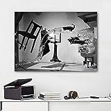 N / A Famoso Arte en Blanco y Negro Abstracto Gato Humano Pintura en Lienzo de Agua Imagen Utilizada en la Sala de Estar Moderna decoración del hogar Mural Sin Marco 40x60 cm