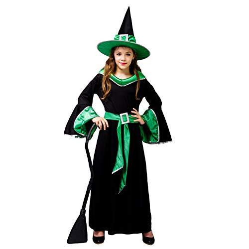 SEA HARE Abito da Strega Glamour per Halloween (Verde, M:7-9 Anni)