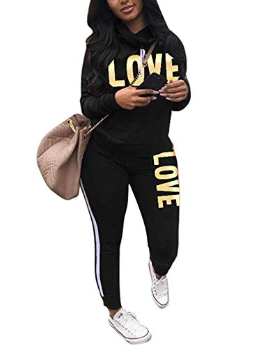 Women's Tracksuit Cowl Neck Long Sleeve Sweatshirt and Sweatpants Set Letter Print 2 Piece Outfits Black L