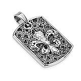 BlackAmazement 316L Edelstahl Anhänger Halskette Fleur De Lis Lilie Wappen Silber schwarz Herren Damen (Anhänger mit Kette)
