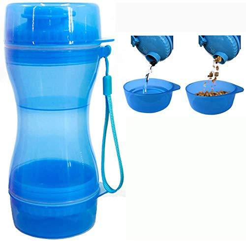 Queta Botellas para Perros Portatil, 2 In 1 Botella de Agua para Perro,Botella de Agua para Perros Gatos Dispensador,para Paseos al Aire Libre (Azul)