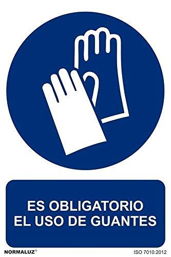 Normaluz RD26603 - Señal Adhesiva Es Obligatorio El Uso de Guantes Adhesivo de Vinilo 10x15 cm, Azul