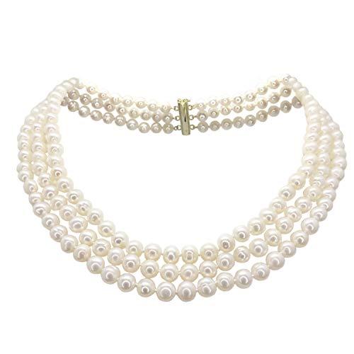 Halskette mit 3 Reihen ausgesuchter Perlen - Geknotete Seide - 46 cm
