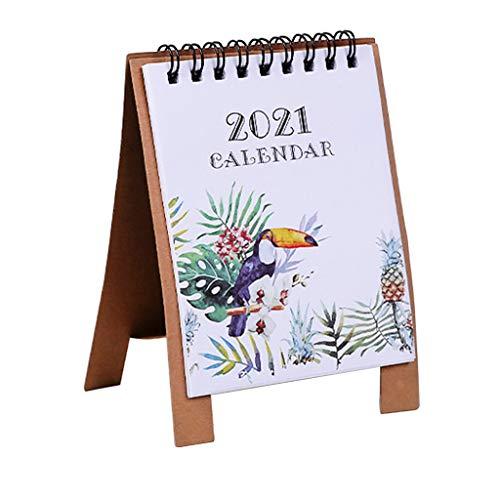 Boji Desk calendar 2021, monthly calendar 2021, cute cartoon desktop paper calendar multifunction timetable plan notebook.