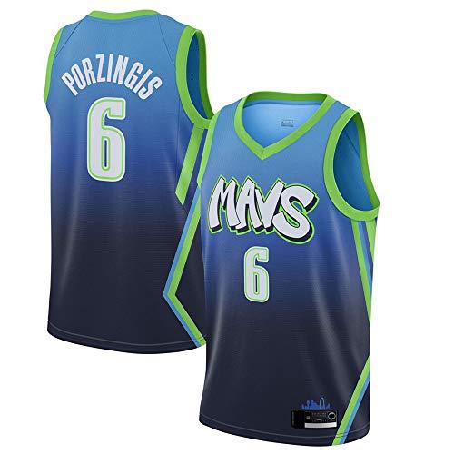 HS-XP Uomo Pallacanestro Maglie - NBA Dallas Mavericks # 6 Kristaps Porziņģis Jersey, Confortevole Sport Canotta Senza Maniche T-Shirt,Blu,XXL (185~190cm)