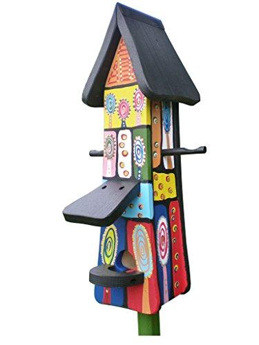 Die Vogelvilla, Futtertürmchen Vogelvillahaus, Futterhaus, Vogelhaus Hundertwasser Stil Kunstvilla