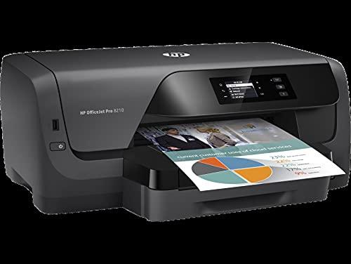 HP OfficeJet Pro 8210 D9L63A, Impresora Monofunción Tinta, Color, Impresión a Doble Cara Automática, Wi-Fi, Wi-Fi Direct, Ethernet, USB 2.0, HP Smart App, Compatible con el Servicio Instant Ink, Negra