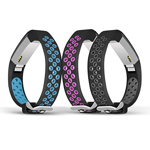 Jobese Compatible Fitbit Alta Bands & Alta Hr & Fitbit Ace Bands, (3 Pack) Two-Tone Soft Breathable Bands Compatible Fitbit Alta / Alta Hr / Fitbit Ace Silicone Replacement Wristbands Women Men