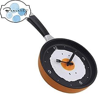 Beauenty Omelet Fry Pan Kitchen Fried Egg Design Wall Clock (Orange)