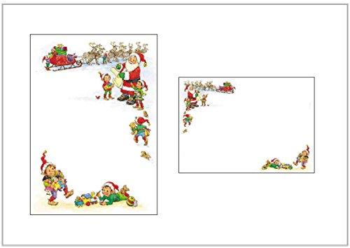 Lot de 10 feuilles de papier et enveloppes de Noël avec lutin et lutins