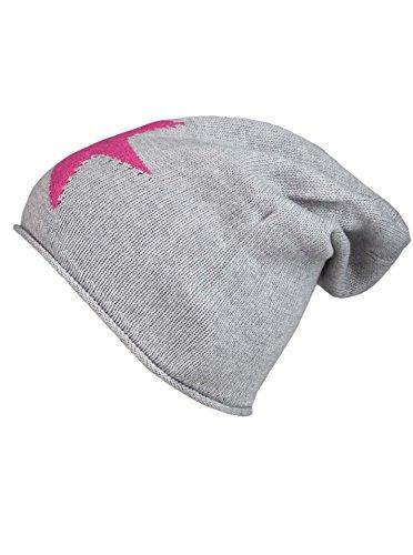 Cashmere Dreams Cashmere Dreams Slouch-Beanie-Mütze mit Kaschmir - Hochwertige Strickmütze für Damen Mädchen - Stern - Hat - One Size - Sommer Herbst und Winter Zwillingsherz (hgr/pink)