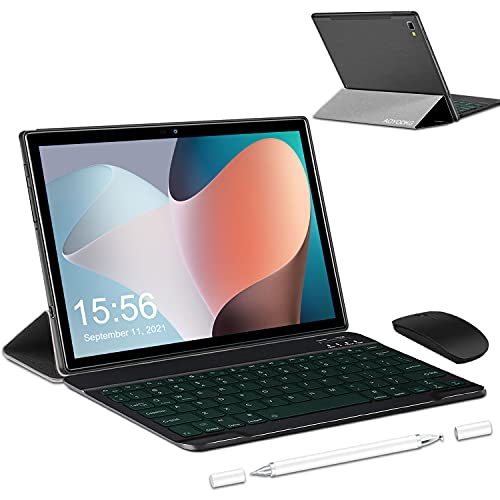 Tablet 10 Pollici Android 10.0-4G LTE Tablet RAM 6GB | ROM 64GB, 128GB Espandibili | 5G WIFI -8 core (Certificazione GOOGLE GMS), 6500mAh Batteria GPS— Mouse | Tastiera (Nero)